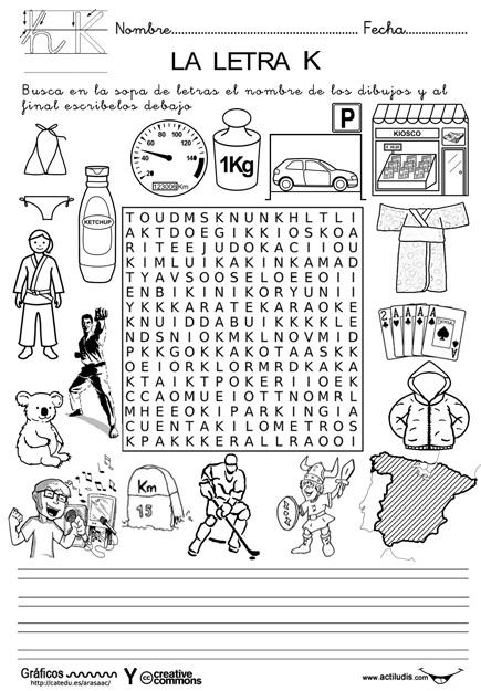 ejercicios de lengua crucigramas de letra k